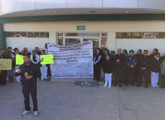 Se manifiestan por falta de insumos y medicamentos en el Hospital General de San Pedro