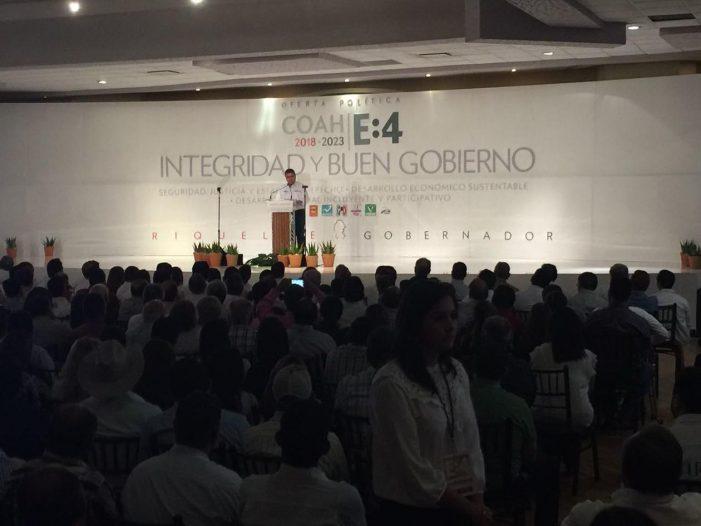 Presenta Miguel Ángel Riquelme su plataforma política